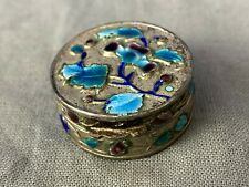 Vintage Chinese China Cloisonne Enamel Trinket Snuff Pill Box Repousse