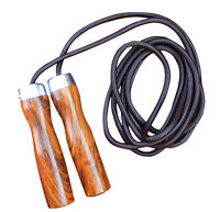 ARD Valu Leather Skipping Rope Weight Wood Handle Exercise Fitness Speed Jumping