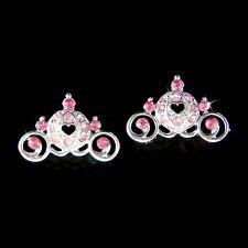 w Swarovski Crystal Pink Wedding ~Cinderella Pumpkin magic Carriage Earrings NEW