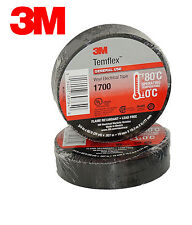 (2 ROLLS) 3M TEMFLEX 1700 ELECTRICAL TAPE BLACK 3/4
