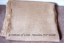 """3 Metres of 72"""" wide, strong Hessian, 12 oz, for upholstery & crafts"""