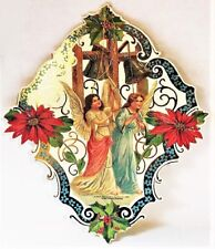 "Gorgeous! Angels Ringing Christmas Bells Large 9"" Vintage Ornament Mint Shackman"