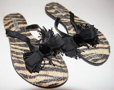 ALFANI Daniella Zebra Tan Black Fabric Flat Flip Flops Sandals Thongs Shoes 5