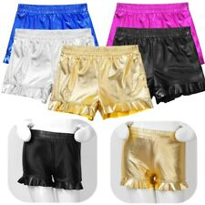 Girls Metallic Shorts Kids Hot Pants Plain Bottoms Gymnastics Party Dancewear