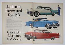 Original Print Ad 1956 GENERAL MOTORS Leads the Way Sedan de Ville Riviera
