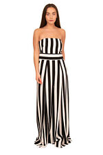RRP €560 MILLY Jumpsuit Size 14 Striped Pleated Wide Leg Made in USA