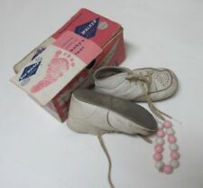 Vtg Wee Walker Shoes White Genuine Leather Unisex Size 2 Baby Shoes Original Box