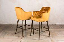 More details for pair of quilted velvet bar stools ochre breakfast bar stools 66cm