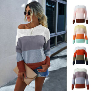 Ladies Long Sleeve Chunky Jumper Sexy Knitted Round Neck Winter Sweater Top