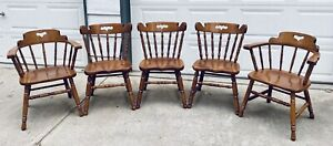 5 Tell City Hard Rock Maple Dining Chairs Colonial Style Andover MCM