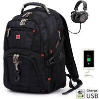 """17"""" Laptop Backpack Men Waterproof USB Charge Swiss Multifunctional Schoolbag"""