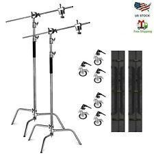 2-pack 10' Heavy Duty C Stand Century Stand with Castor Wheels for Aputure Godox