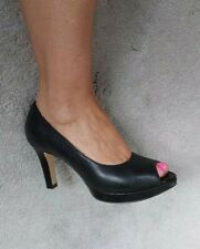 Zapatos Clarks Talla 5 Negro Cuero Peep Toe Slip On tribunales Artisan Collection 38