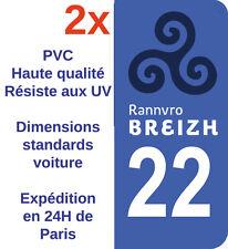 Sticker Autocollant plaque d'immatriculation Département 22 Bretagne Breizh X2