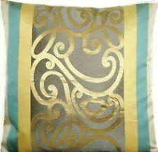 """Designers Guild Cushion Cover Silk Benucci Woven Fabric Blue Gold Filigree 16"""""""