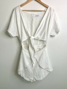 Reverse Womens White Cut Out Front With Tie Playsuit - Size Large