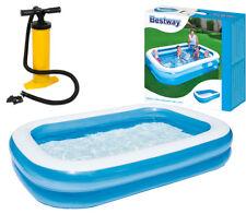 BESTWAY Famiglia rettangolare di grandi dimensioni Nuoto Piscina per Bambini + pompa a doppia azione
