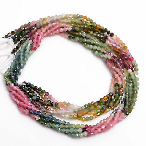 2 mm Natural Multi Tourmaline Shaded Faceted Round Rondelle Beads 33 cm Strand