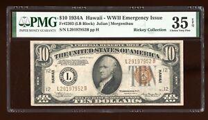 DBR 1934-A $10 FRN Hawaii LB Block Fr. 2303 PMG 35 EPQ Serial L29197952B