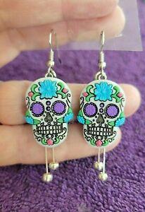 _Blue Sugar Skull Day of the Dead Drop Dangle Hook Earrings - Very Unique!!!