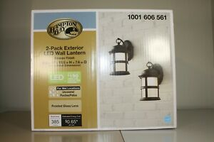 Hampton Bay GUV1691L-2 2 Pack Exterior LED Wall Lanterns Bronze Finish 120V Z611