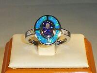 Ladies Art Deco Sterling 925 Solid Silver Opal Sapphire & Tanzanite Target Ring