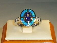Ladies Art Deco Sterling 925 Solid Silver Opal Sapphire & Tanzanite Target Ring