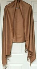 Pashmina Scarf Wrap Tan/Gold With Fringed Ends Beautiful No Tags