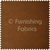Aged Distressed Faux Nubuck Leather Fabric Soft Semi Sueded In Tan Brown Finish