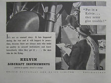 8/1946 PUB KELVIN AIRCRAFT INSTRUMENTS INDICATORS EQUIPMENT AVION ORIGINAL AD