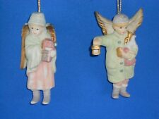 """Angel ornament Collectibles Pair Beautiful Detail 4"""" Midwest Importers porcelain"""