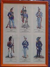 Vecchia stampa serigrafica su cartoncino uniformi storiche savoia 1822-1863