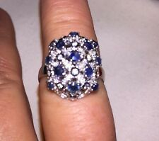 $399.00 GENUINE NATURAL RICH BLUE SAPPHIRE & STERLING SILVER RING SIZE 9