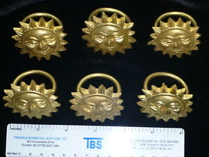 Very Heavy Golden solid Brass Sun Napkin Rings 6 of each