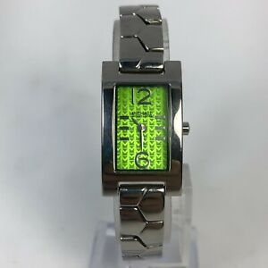 Michael Kors Womens Tank Vintage MK1007 Green Dial Bracelet Quartz Analog Watch