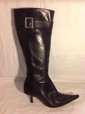 Buffalo London Black Knee High Leather Boots Size 39
