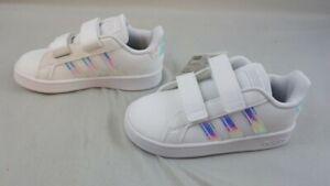 Adidas Toddler Size 8K Grand Court l Shoes White / Holographic Strip FW1276  NIB