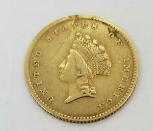 1854 US Gold $1 Type-2 cleaned/rim damage L10621