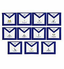Blue Lodge Officers Apron Set of 11 Machine Embroidered Masonic Aprons