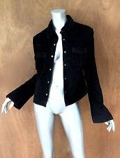 Roxy Jean SzL Black suede genuine leather jacket button front, breast pockets