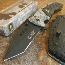 US ARMY Spring Assisted HAMMER FINISHED Tactical TANTO Pocket Knife SERRATED