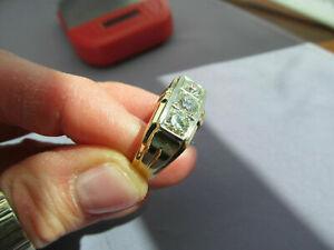 Antique Men's Cluster Wedding Ring 3 Stone Round Cut Diamonds 14K Yellow Gold Fn