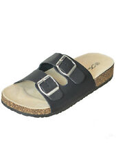 New Womens Double Buckle Straps Sandals Black Flip Flops Size 8.5