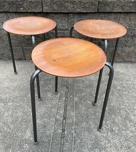 Mid Century Danish Modern Set of Three Teak Stacking Stool Arne Jacobsen Dot