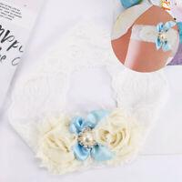 Charm White Lace Bridal Garter Blue Satin Pearl Bowknot Rhinestone Decor Garter