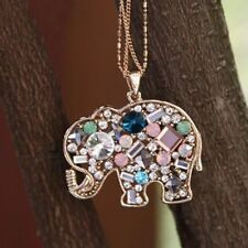 New Charm Multicolour Crystal Lucky Elephant Sweater Necklace Pendant