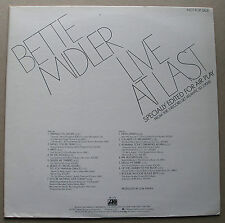 Bette Midler 1977 Atlantic Edited Promo LP Bette Midler Live At Last NM