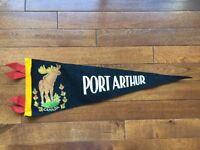 Vtg Port Arthur Ontario Pennant Felt Banner 1960's Canada Souvenir Thunder Bay