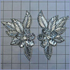 SEQUIN BEADED SILVER/BLACK FLOWER PAIR APPLIQUES 3616-H