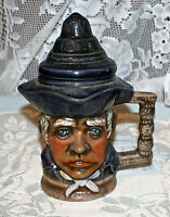 Handsome Hand Painted Colonial Man Character Ceramic Toby Mug With Lid